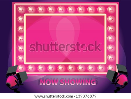 Showtime Retro neon board Board Framed With Shining LED Lamps - stock vector