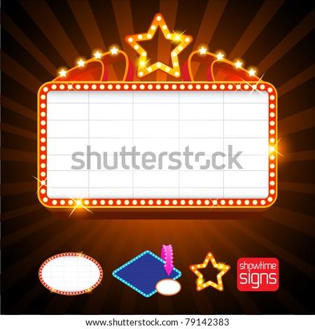 Showtime Retro Signs - stock vector