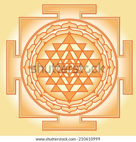 Shri Chakra Yantra - stock vector