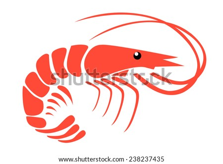 Shrimp Logo Vector Shrimp Stock Vector