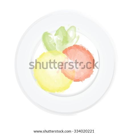 Shrimp, lemon and greens on a plate. Healthy food. Vector illustration. - stock vector