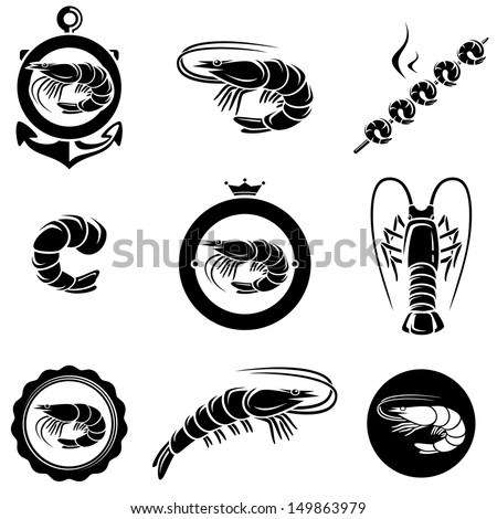 Shrimp set. Vector - stock vector