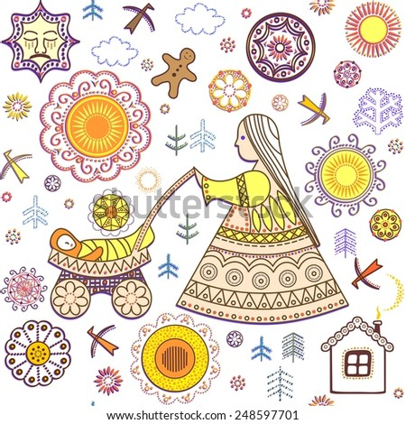 Shrovetide wallpaper with abstract retro pattern - stock vector