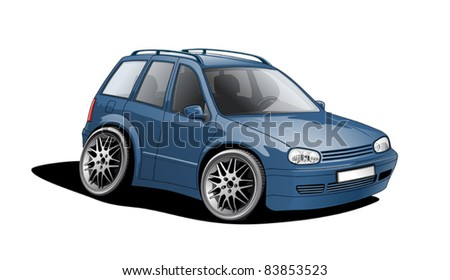 shrunken car, funny illustration - stock vector