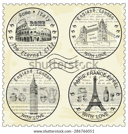 shtamp rome paris london - stock vector