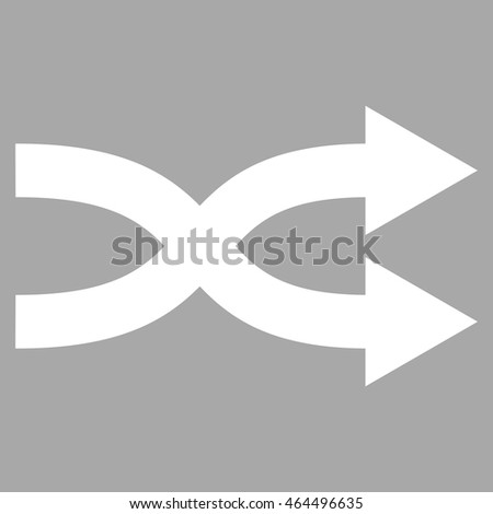 Shuffle Arrows Right vector icon. Image style is flat shuffle arrows right pictogram symbol drawn with white color on a silver background.