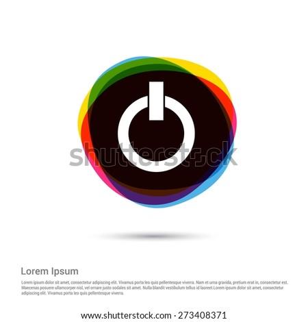 Shutdown Icon, power button icon. White pictogram icon creative circle Multicolor background. Vector illustration. Flat icon design style - stock vector