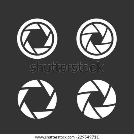 Shutter icons set - stock vector