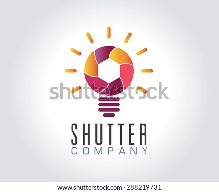 Shutter light bulb abstract symbol icon or Logo Template - stock vector