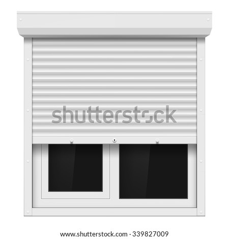 Shutters and plastic window isolated on white background. Stock vector illustration. - stock vector