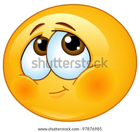 Shy emoticon - stock vector