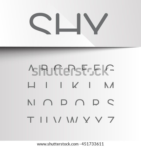 Shy font with only the top of the characters, vector - stock vector