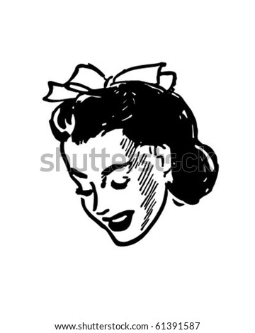 Shy Girl - Retro Clip Art - stock vector