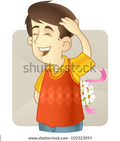 Shy kid holding flowers for his girlfriend  in his back - stock vector