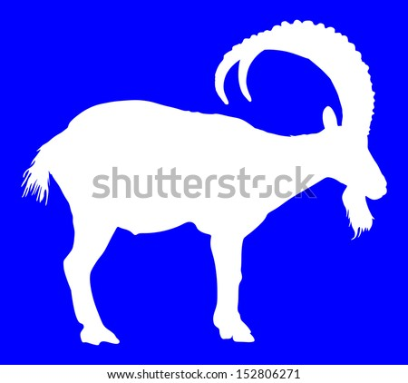 Siberian Ibex capra sibiric vector, white silhouette isolated on blue background - stock vector