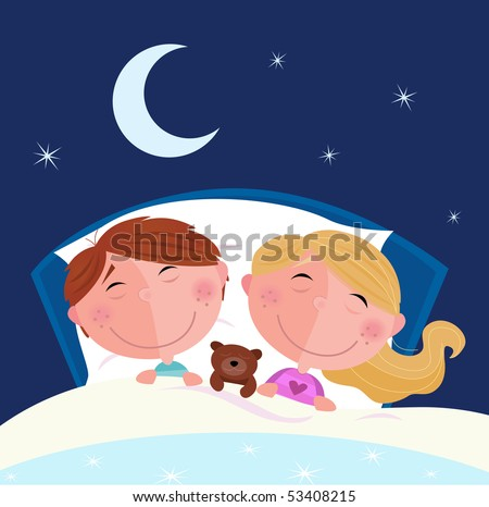 Siblings - boy and girl sleeping and dreaming in bed. Cute children sleeping in the bed. Moon and stars on the sky behind. Cartoon vector illustration. - stock vector