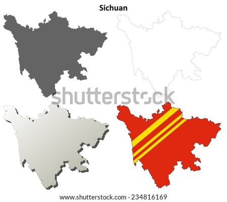 Sichuan blank outline map set - stock vector