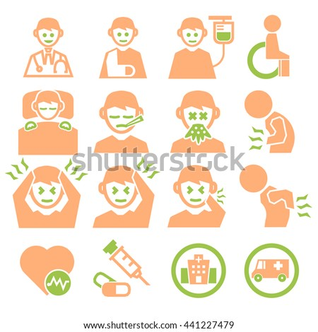 sick, ailing icon set - stock vector