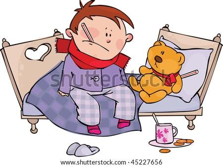 Sick boy and teddy bear - stock vector
