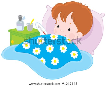 sick boy lying with a thermometer in a bed - stock vector