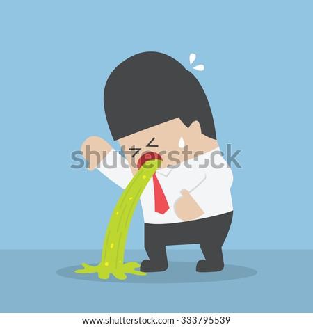 Sick businessman vomiting on the floor, VECTOR, EPS10 - stock vector