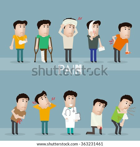 Sick characters set of people with pain and diseases vector illustration.