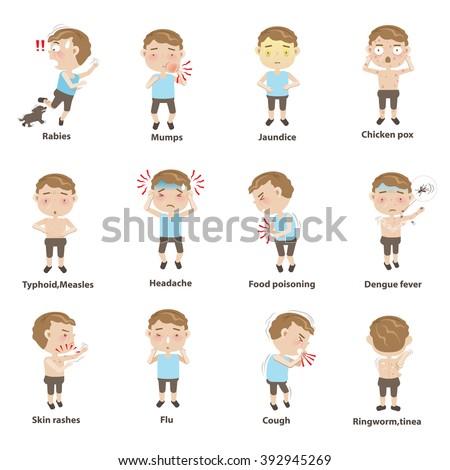Sick child character sets. Cartoon Vector illustration. - stock vector