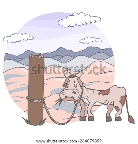 Sick cow tied to a pole - stock vector