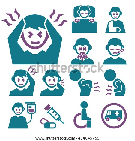 sick icon set - stock vector