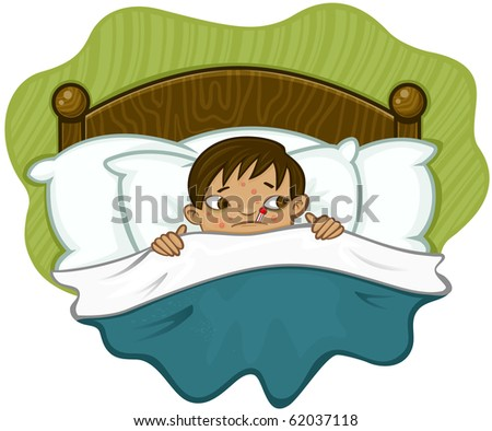 Sick kid in bed with thermometer. - stock vector