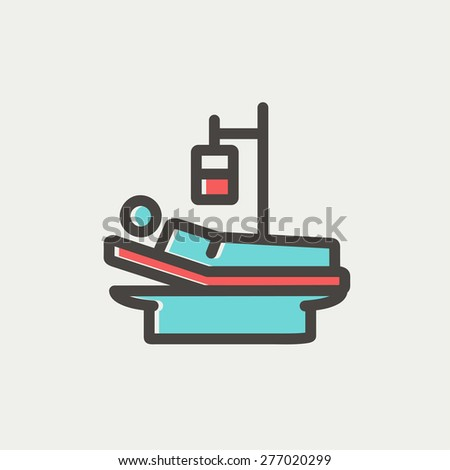 Sick man resting in bed with IV saline solution icon thin line for web and mobile, modern minimalistic flat design. Vector icon with dark grey outline and offset colour on light grey background. - stock vector