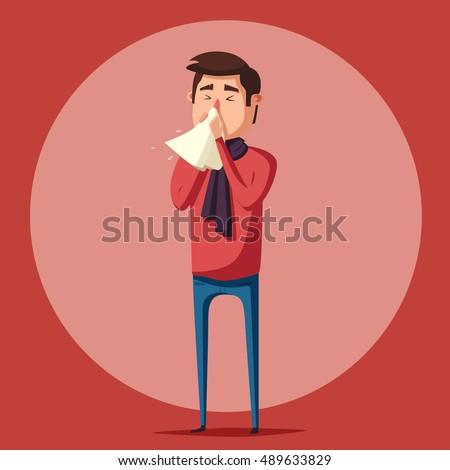 Sick man. Unhappy character. Vector cartoon illustration. Man with ... Unhappy Stick Figure