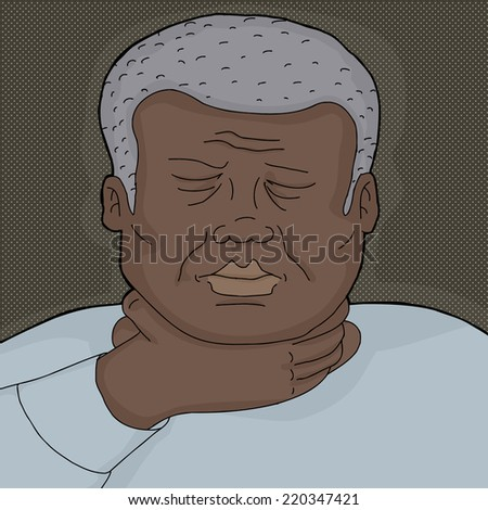 Sick man with eyes closed holding throat - stock vector