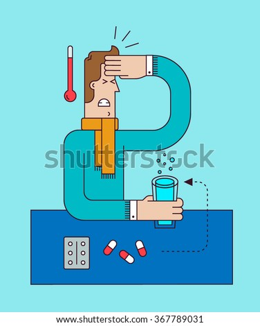 Sick man with thermometer have a symptoms of a virus flu and fever. Healthcare concept. Vector flat illustration with outline. - stock vector