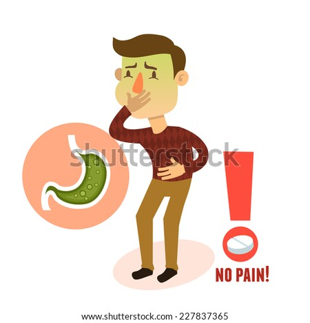 Sick stomach ache nausea male person character with pill vector illustration - stock vector