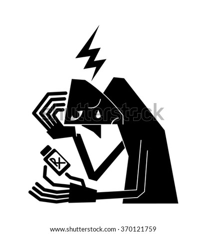 Sick suffering man crying over bottle of medication  - stock vector