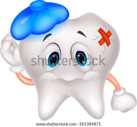 Sick tooth cartoon - stock vector