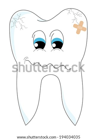 Sick tooth with crack and patch cartoon. sad tooth with face, eyes and mouth in pain, vector art image illustration, isolated on white background - stock vector
