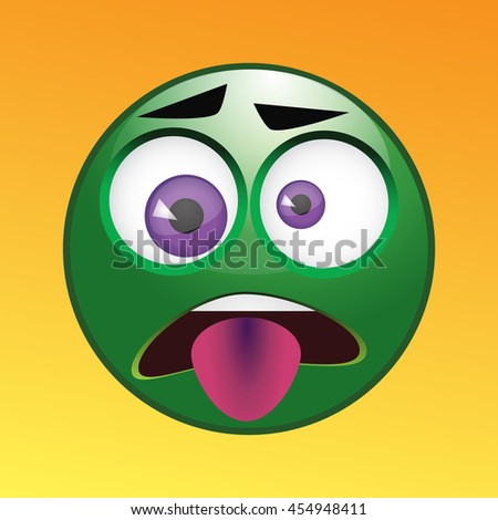 Sick unwell emoticon icon isolated expression - stock vector