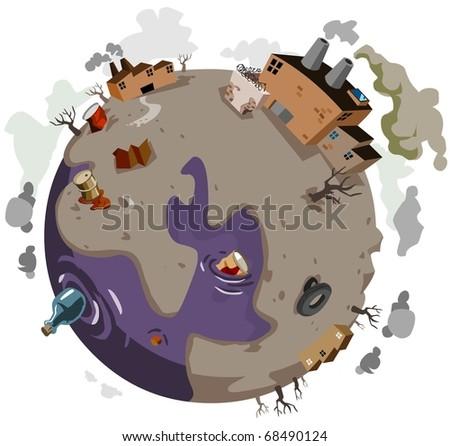 Sick World needs help. Vector Illustration - stock vector