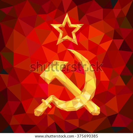 Sickle and Hammer Emblem of USSR in Polygons - stock vector
