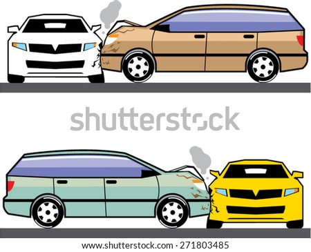 Side car crash vector - stock vector