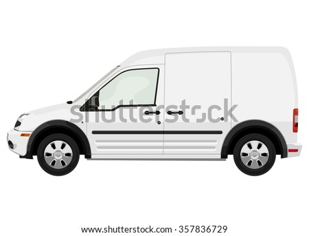 Side of the light commercial vehicle on a white background - stock vector