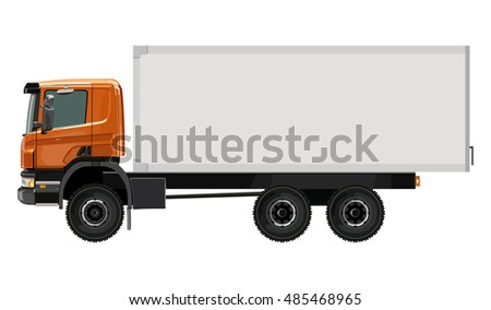 Side orange truck with a container on a white background