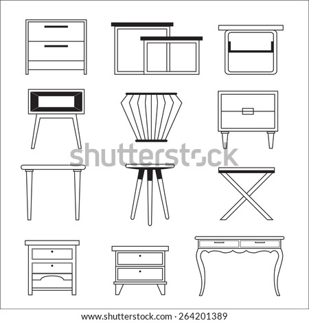 side table - stock vector