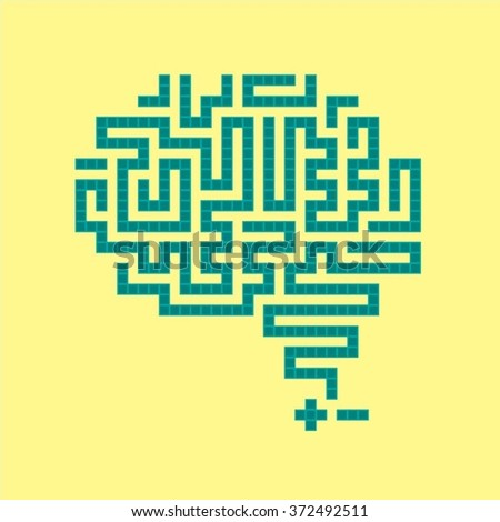 Side view brain vector illustration on yellow background - stock vector