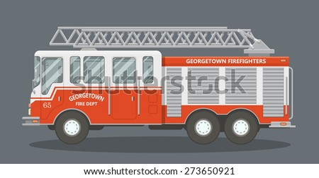 Side view of a red fire truck. Vector illustration of a fire engine. - stock vector