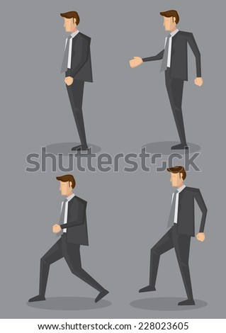 Side view of business executive in full suit with grey necktie in four different poses. Vector character illustration isolated on grey plain background. - stock vector