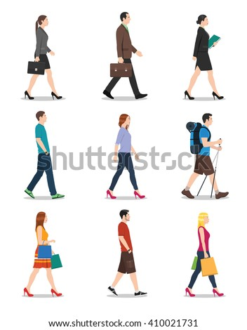 Side view of men and women walking. People walking illustration. - stock vector