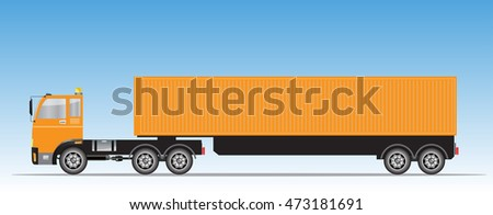 Side view of Trailer Cargo Container Truck with Blue sky background